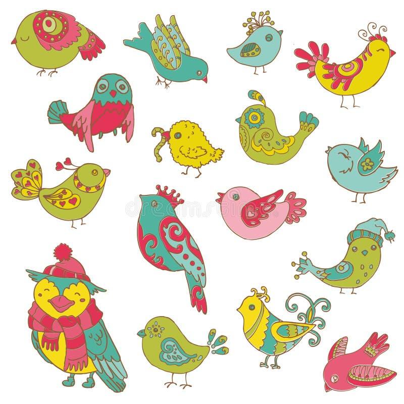 Coleção colorida do Doodle dos pássaros - mão desenhada ilustração stock