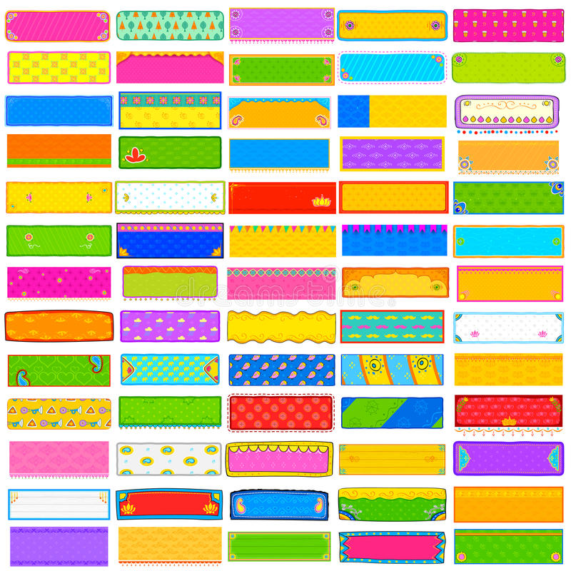 Coleção colorida do jumbo da bandeira do kitsch ilustração royalty free