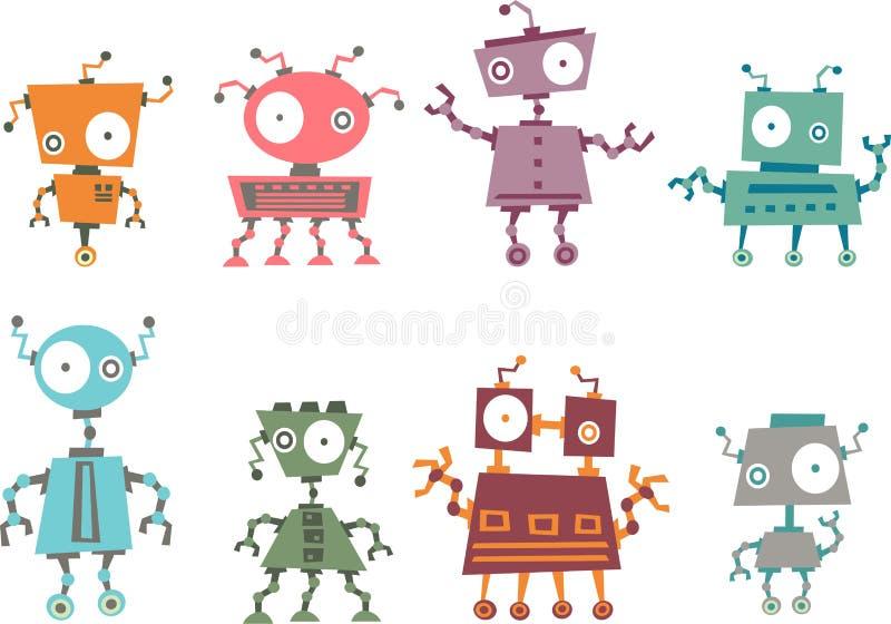 Coleção colorida do robô ilustração do vetor