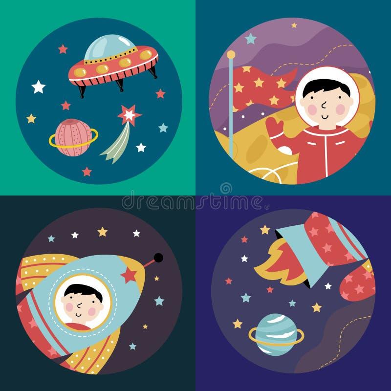 Coleção colorida dos ícones dos desenhos animados do espaço ilustração royalty free