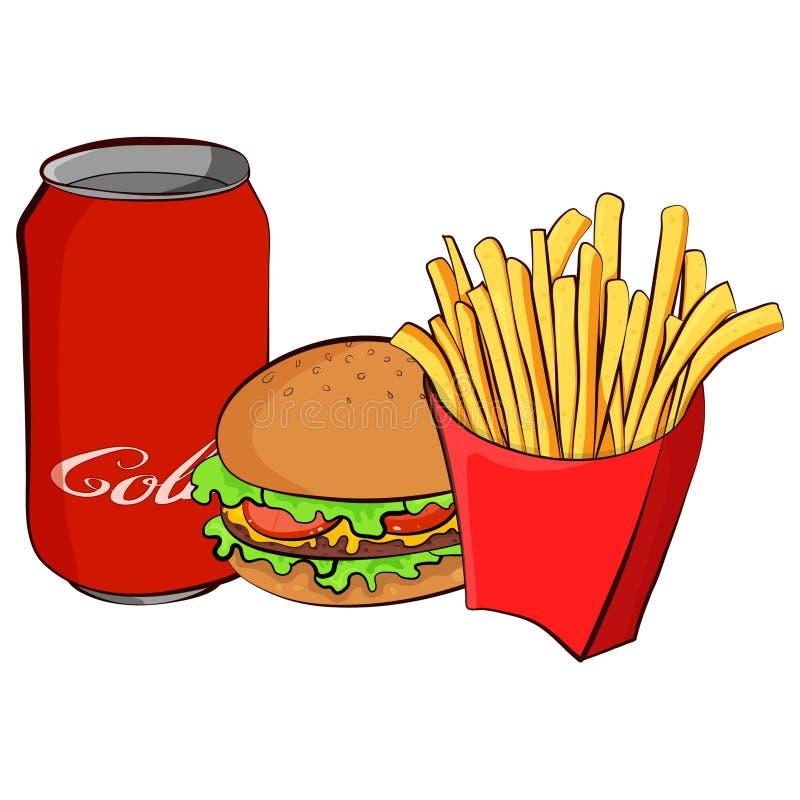 Coleção colorida dos ícones do fast food Vector a ilustração lisa do estilo dos desenhos animados isolada no branco ilustração do vetor