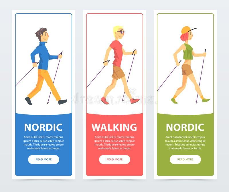 Coleção colorida dos cartões com os caminhantes do nordic dos povos Jovens ativos exteriores Esporte e estilo de vida saudável ilustração stock