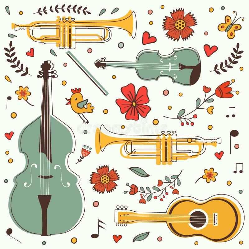 Coleção colorida dos instrumentos musicais com ilustração do vetor