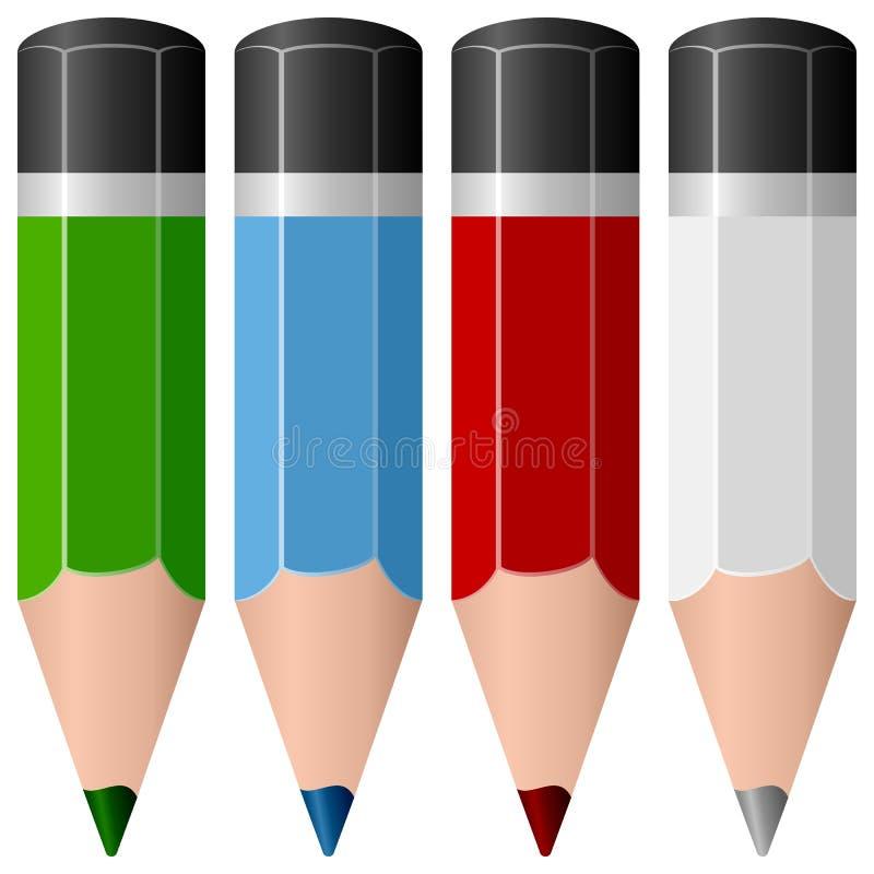 Coleção colorida dos lápis ilustração royalty free