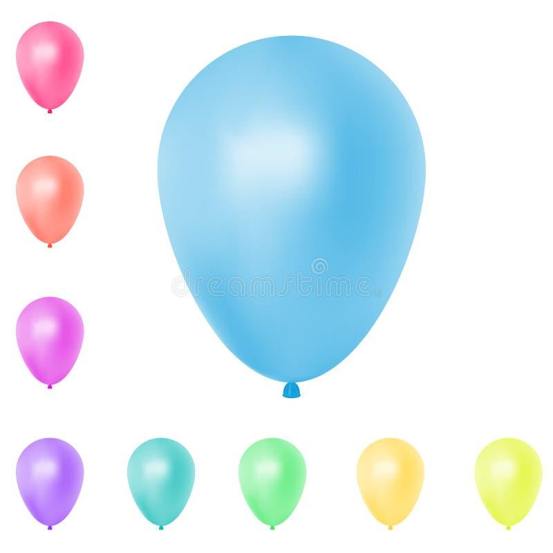 Coleção colorida realística dos balões Isolado no fundo branco Ilustração do vetor imagem de stock