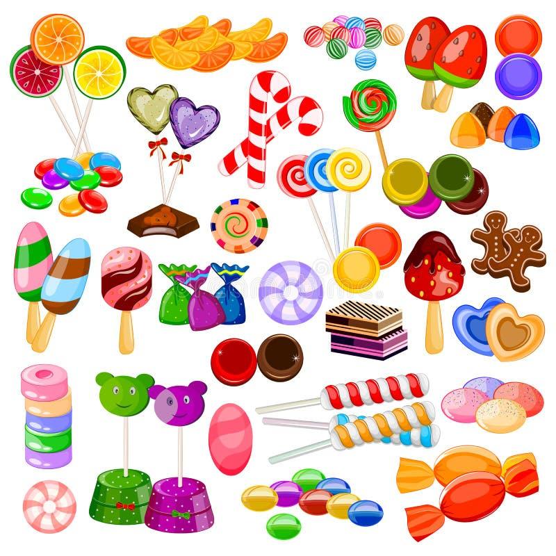 Coleção colorida sortido dos doces ilustração do vetor