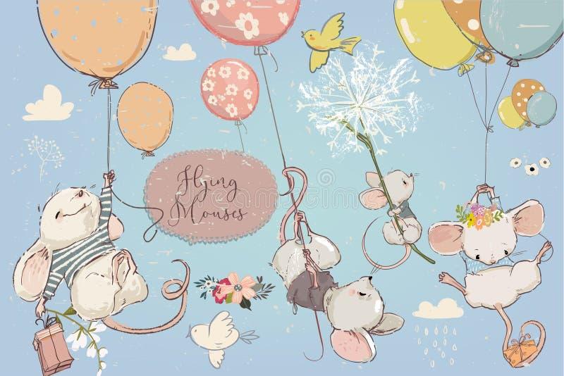 Coleção com mouses bonitos do aniversário com balões ilustração royalty free