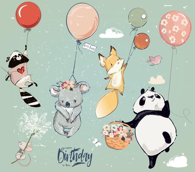 Coleção com os animais bonitos da mosca do aniversário com balões ilustração royalty free