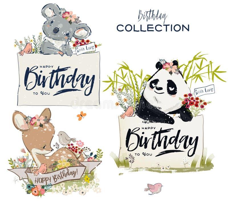 Coleção com os animais bonitos do aniversário com flores ilustração royalty free