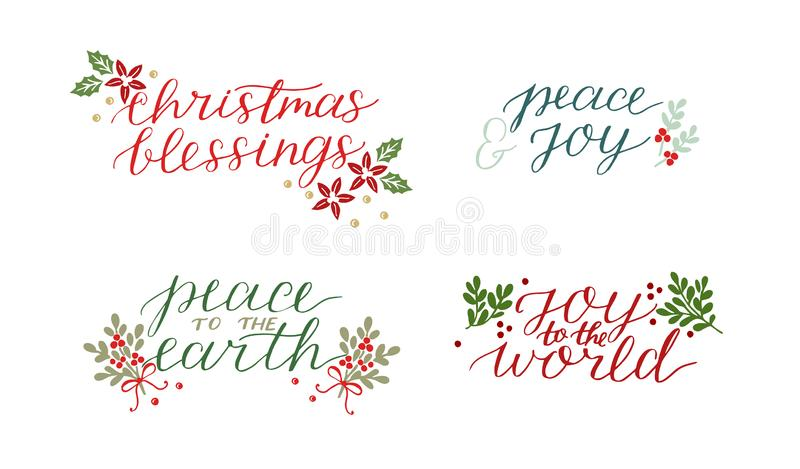 A coleção com os 4 cartões do feriado fez a mão que rotula a paz das bênçãos do Natal à terra Alegria ao mundo ilustração stock