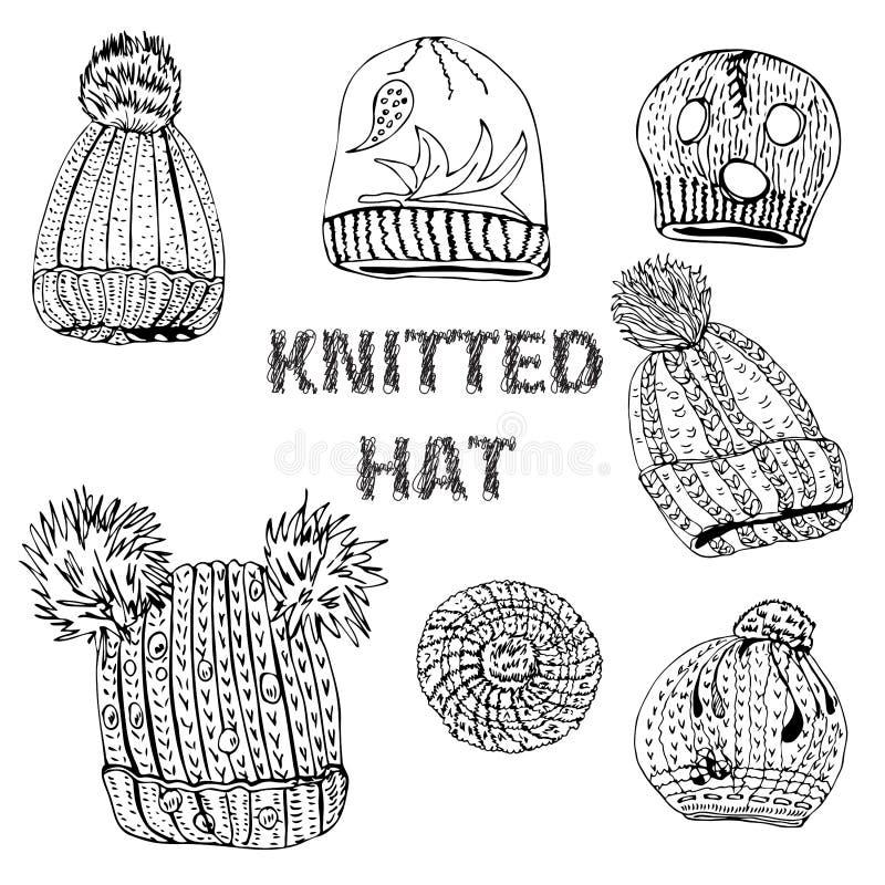 Coleção com os chapéus e as boinas feitos malha tirados mão Objetos monocromáticos do esboço da tinta isolados no fundo branco ilustração royalty free