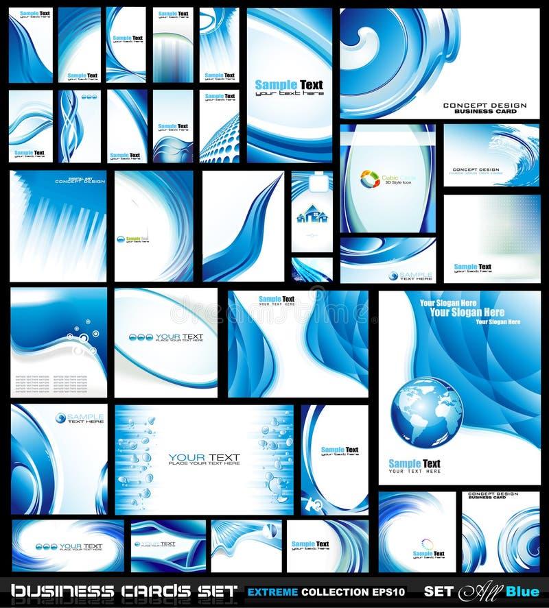 Coleção corporativa do cartão: Azul ilustração royalty free
