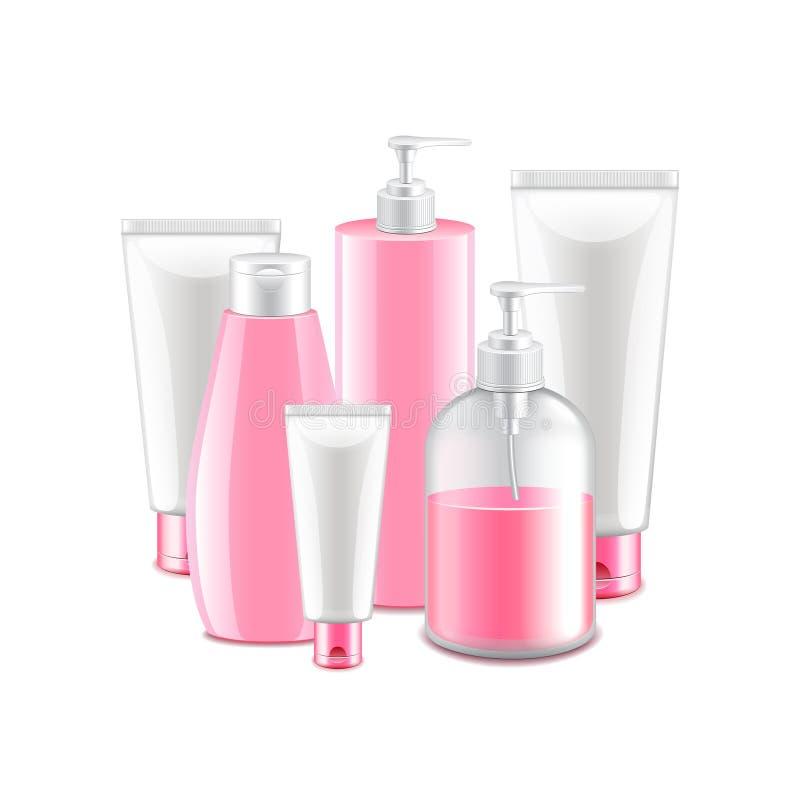 Coleção cosmética cor-de-rosa no vetor branco ilustração royalty free
