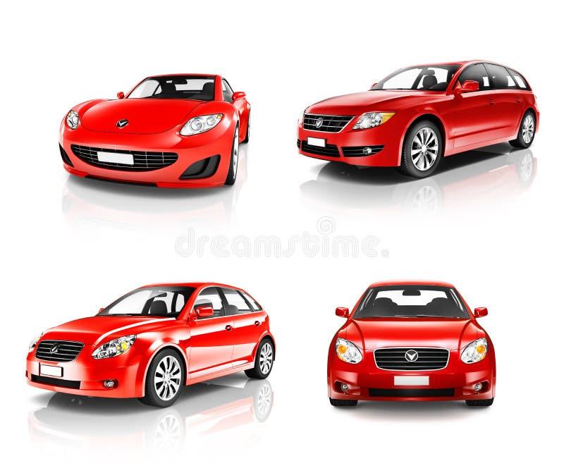coleção 3D do carro de esportes vermelho luxuoso ilustração do vetor