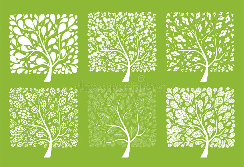 Coleção da árvore da arte para seu projeto ilustração do vetor