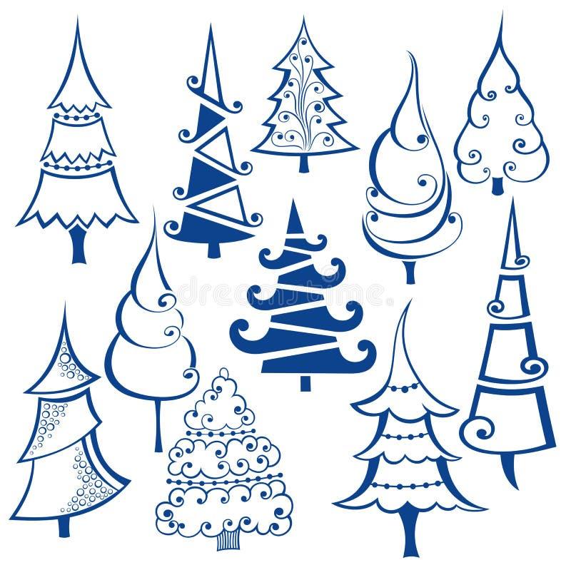 Coleção da árvore de Natal ilustração royalty free