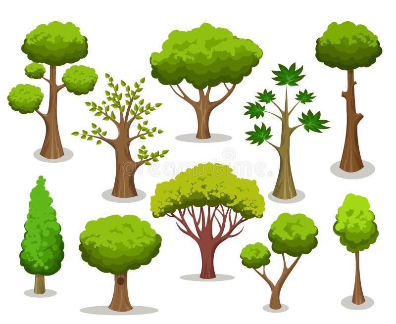 Coleção da árvore dos desenhos animados ilustração stock