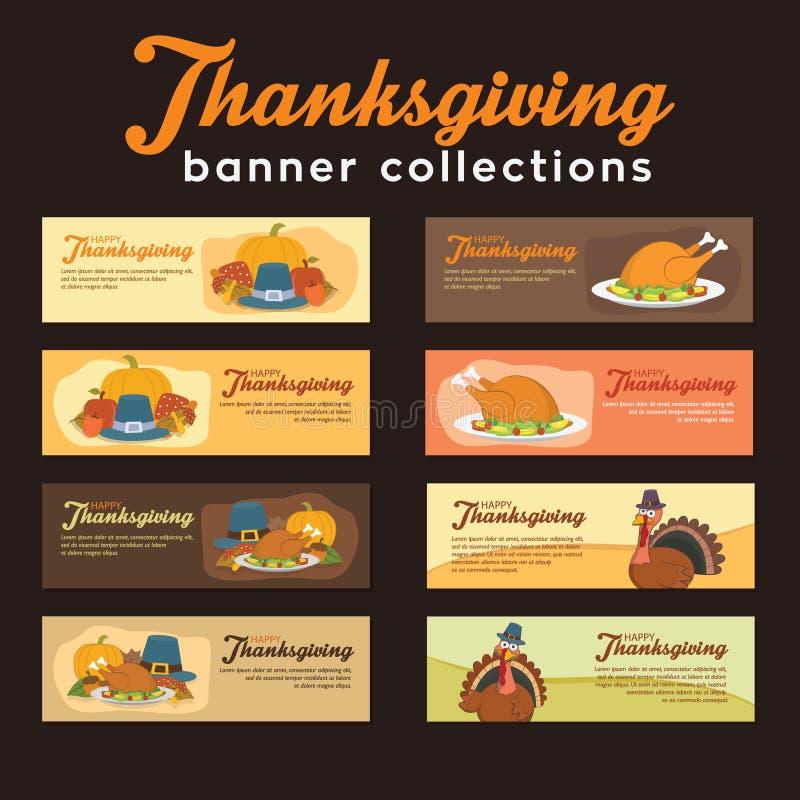 Coleção da bandeira da ação de graças de Turquia com ornamento e alimentos ilustração do vetor