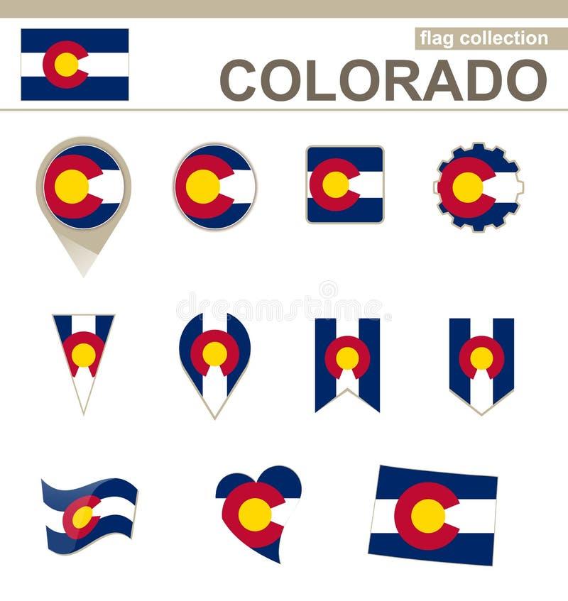 Coleção da bandeira de Colorado ilustração royalty free