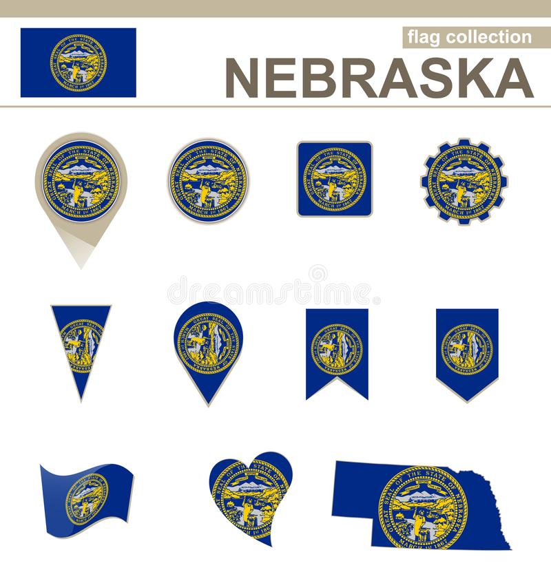 Coleção da bandeira de Nebraska ilustração royalty free