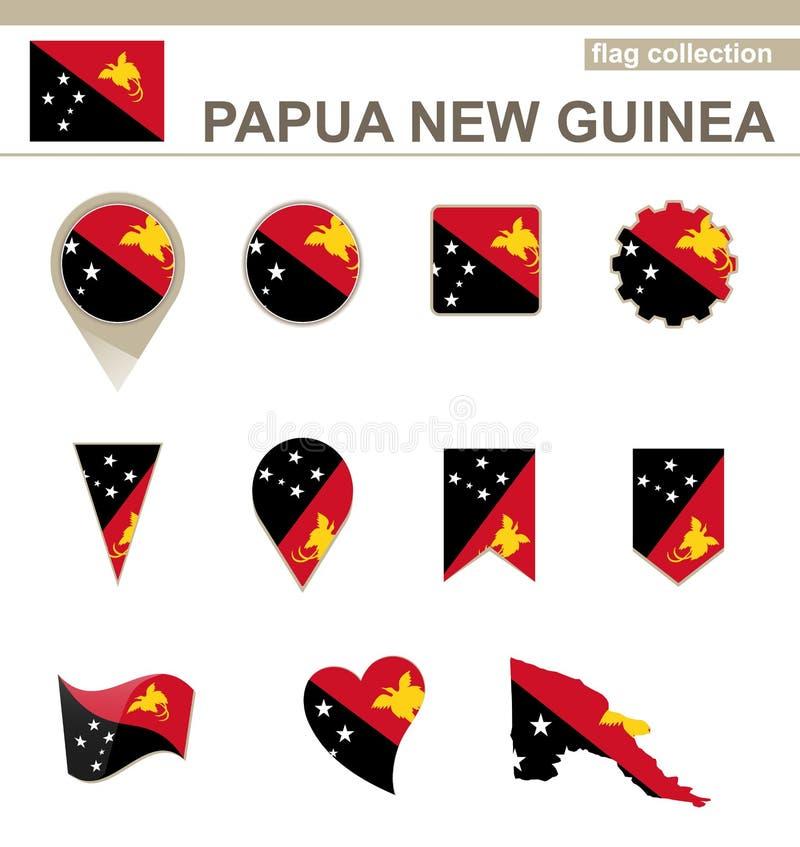 Coleção da bandeira de Papuásia-Nova Guiné ilustração do vetor
