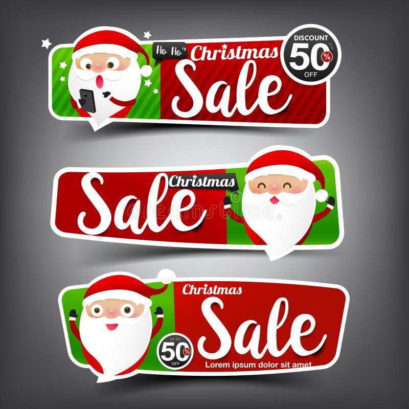 Coleção da bandeira vermelha e verde da venda do Natal da Web da etiqueta ilustração do vetor