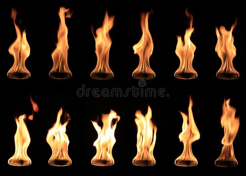 Coleção da bola de fogo real isolada imagem de stock royalty free