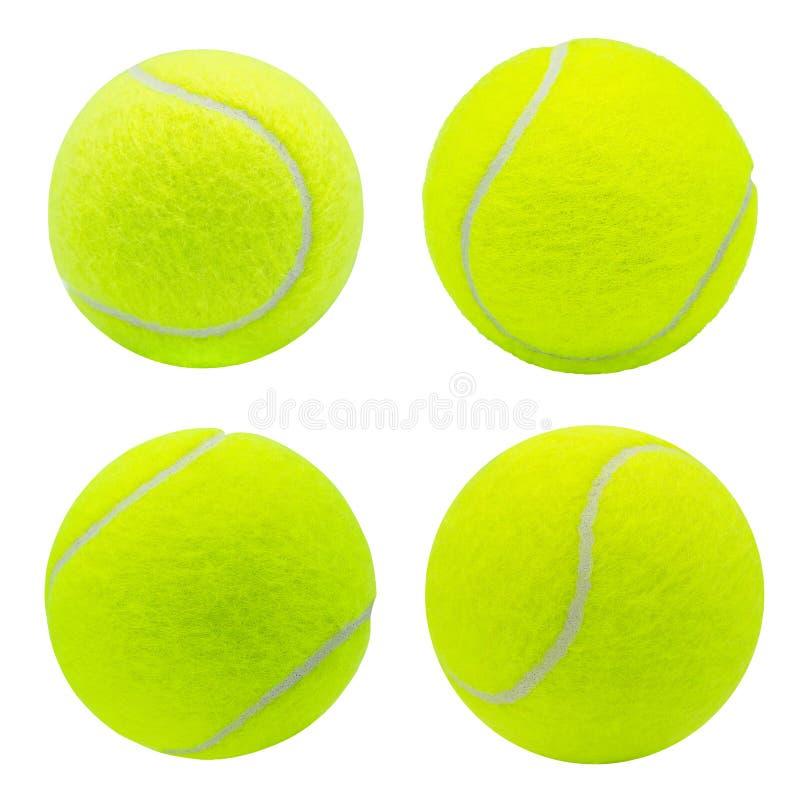 Coleção da bola de tênis isolada no fundo branco com trajeto de grampeamento fotografia de stock royalty free
