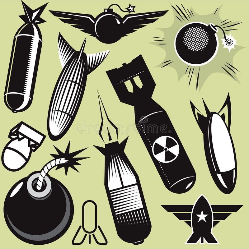 Coleção da bomba ilustração royalty free