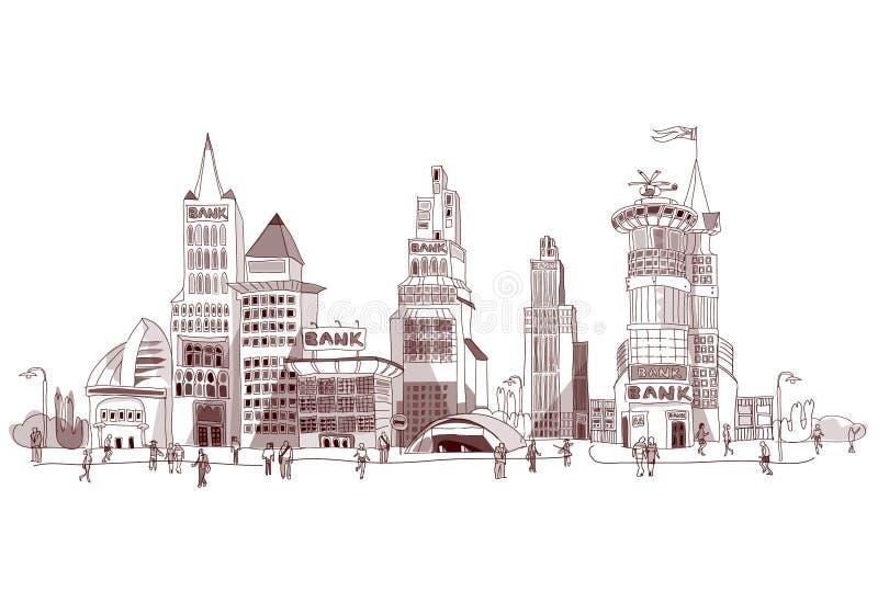 Coleção da cidade da ilustração da rua do banco ilustração royalty free