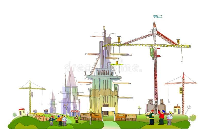 Coleção da cidade do terreno de construção ilustração stock