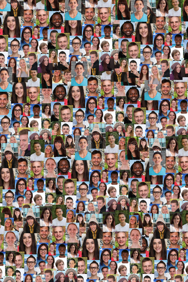 Coleção da colagem do fundo dos jovens grande grupo imagens de stock