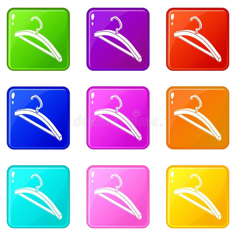 Coleção da cor do grupo 9 dos ícones do gancho de roupa ilustração royalty free