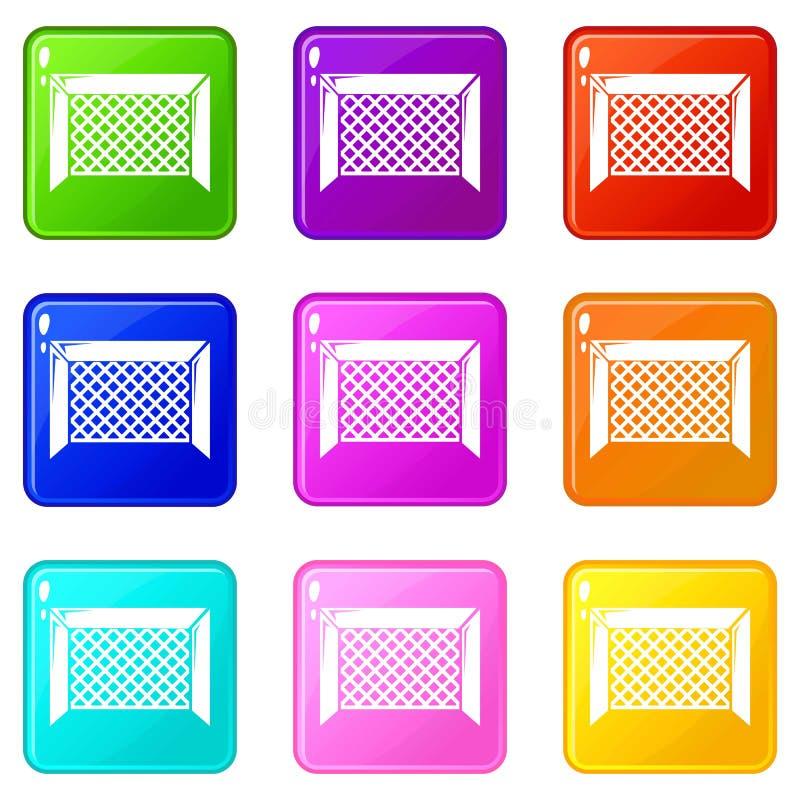 Coleção da cor do grupo 9 dos ícones da porta do hóquei ilustração do vetor