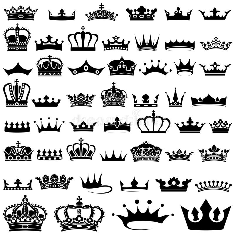 Coleção da coroa ilustração stock