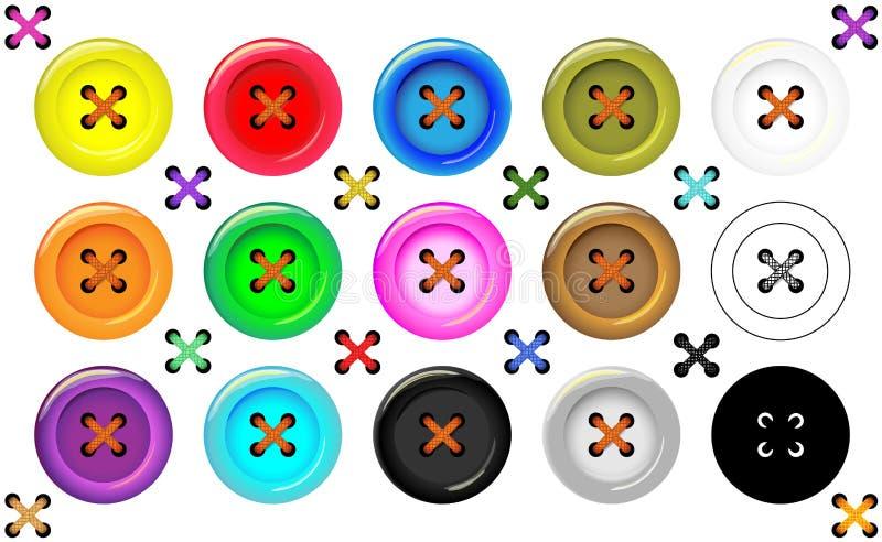 Coleção da costura dos botões para a roupa, a arte e os ofícios em várias cores brilhantes Grupo da forma e do bordado ilustração stock