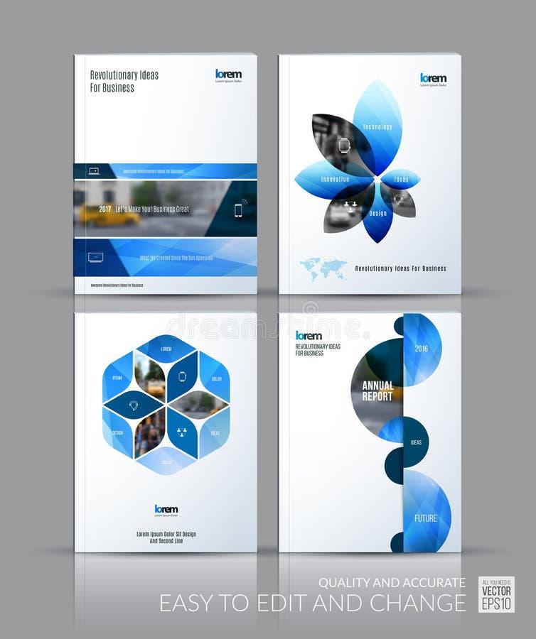 Coleção da disposição do molde do folheto, informe anual do projeto da tampa, ilustração do vetor
