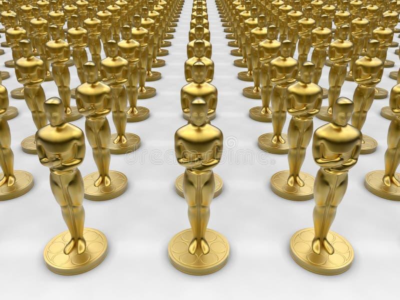 Coleção da estátua de Oscar fotos de stock royalty free