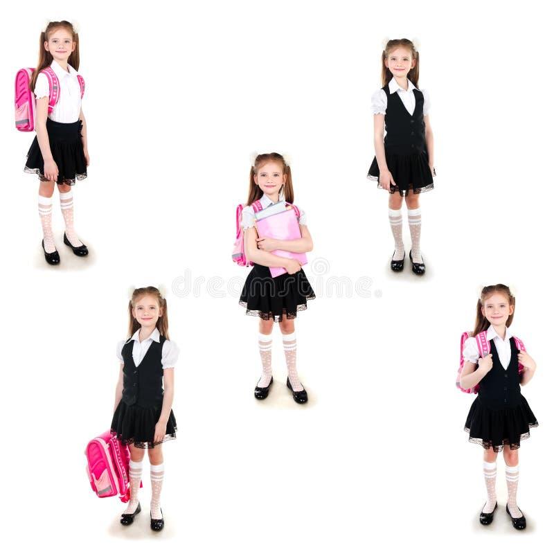 Coleção da estudante de sorriso das fotos no uniforme fotos de stock royalty free