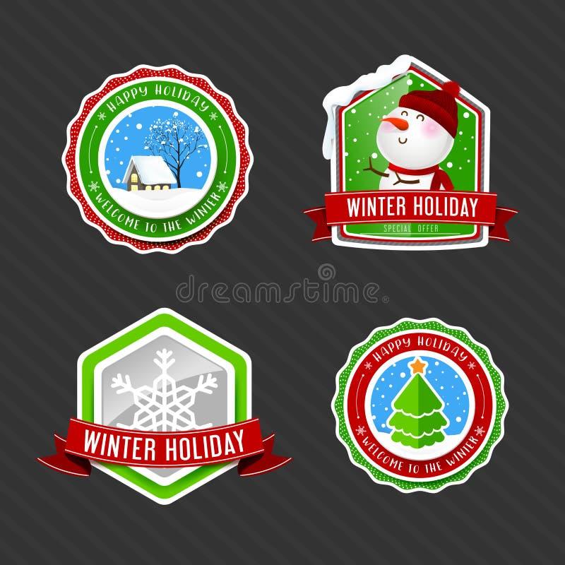 Coleção da etiqueta da etiqueta do feriado de inverno do vintage ilustração do vetor
