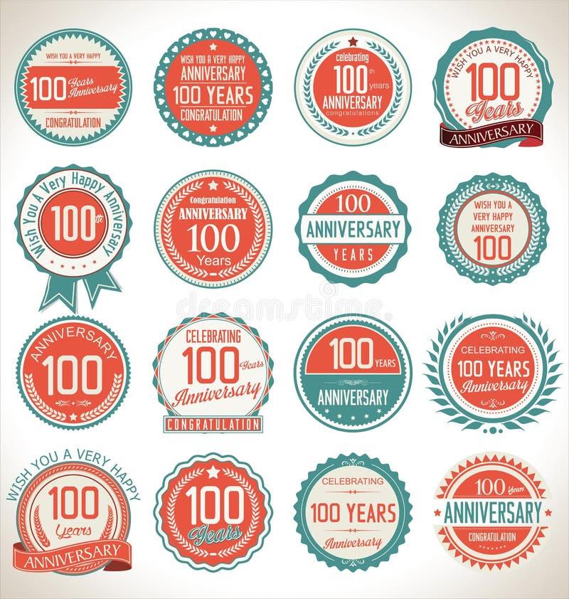 Coleção da etiqueta do aniversário, 100 anos ilustração stock