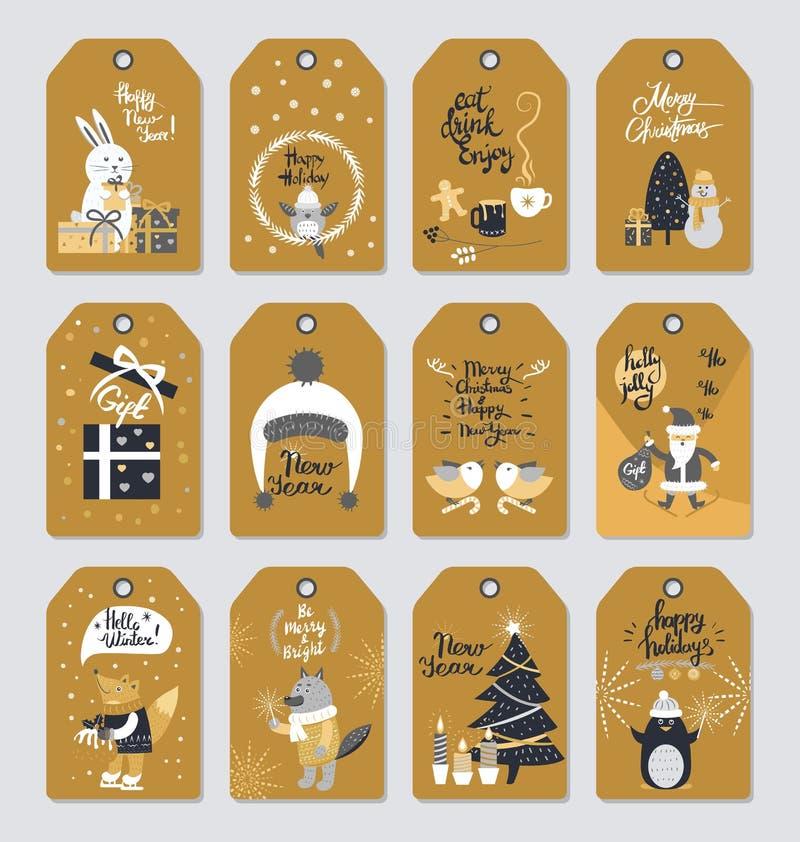 Coleção da etiqueta do Feliz Natal no estilo do vintage ilustração royalty free