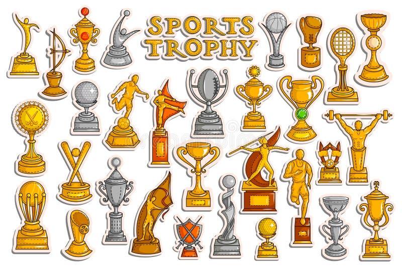 Coleção da etiqueta para esportes Victory Gold Cups e troféu ilustração do vetor