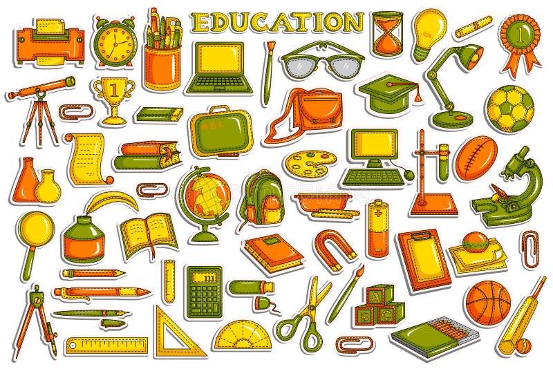 Coleção da etiqueta para o objeto da educação ilustração stock