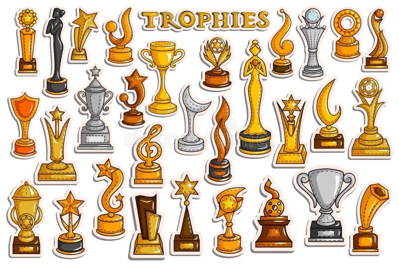 Coleção da etiqueta para Victory Gold Cups e o troféu ilustração do vetor