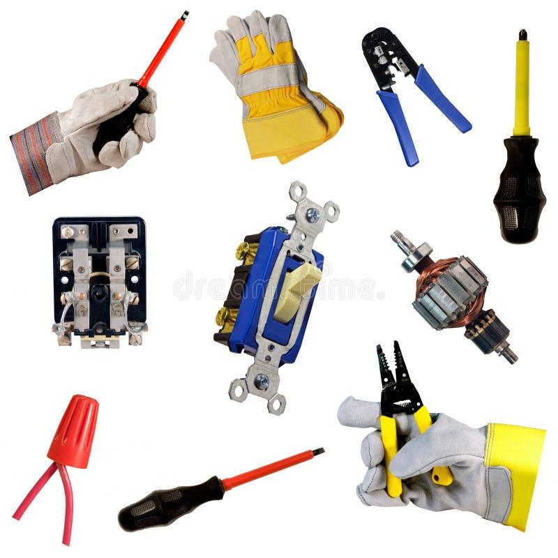 Coleção da ferramenta dos eletricistas imagens de stock
