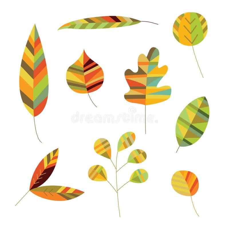 Coleção da folha decorativa ilustração do vetor