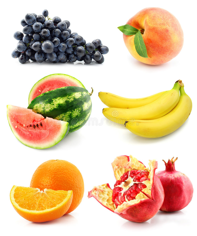 Coleção da fruta isolada no branco fotos de stock royalty free