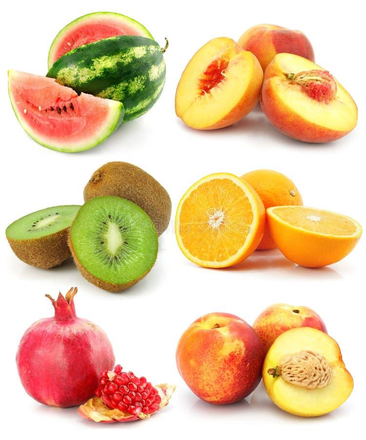 Coleção da fruta isolada no branco foto de stock