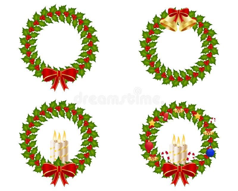 Coleção da grinalda do Natal ilustração stock